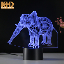 KH-0397 KING HEIGHT Acrylic Color Changing Table Lovely Night Small Shape LED Children Elephant Lights