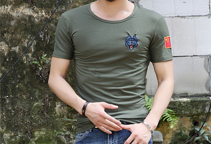 J802 2017 Men's V-Neck/O-Neck Embroidered Close-fit Sleeve Short T-shirt