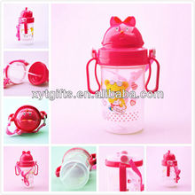 Cute Animal Shape Custom Logo Printed 500ml Plastic Kids Water Bottles with Handle and Straw