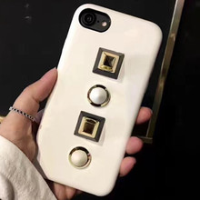 2017 new style PU leather cover with nails phone case for iPhone 7