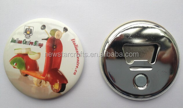 Bottle opener button badge with magnet