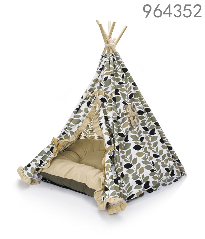 waterproof canvas fabric nature printing wood pet camping tent with removable pillow