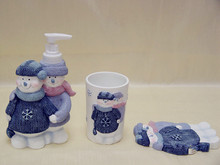 Resin Hand painting Christmas Snowman Pattern 4pcs Polyresin Bathroom Set