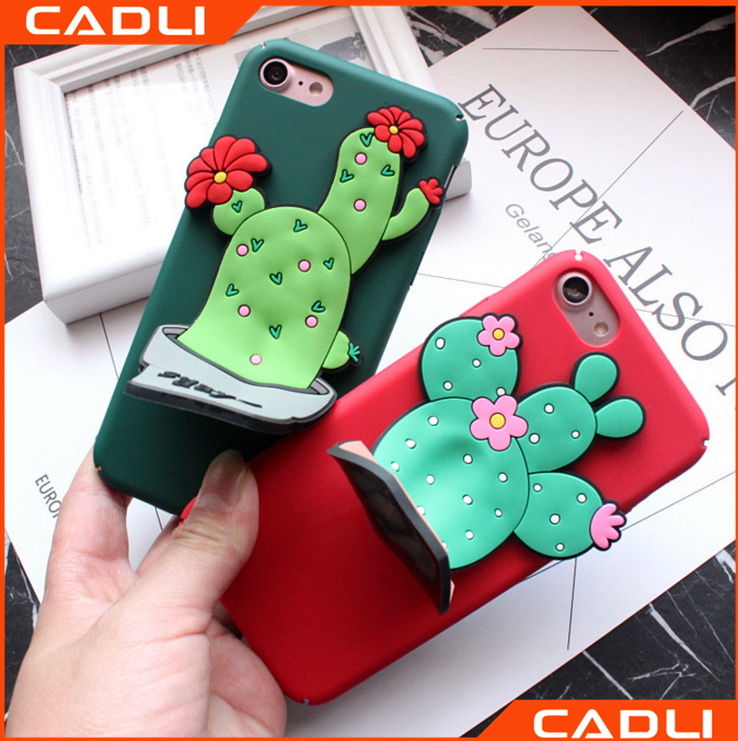 Easy To Install And Tear Down Cute Cactus Plant Cartoon 3D Stand Holder Case Mobile Phone For iPhone 7 7 Plus