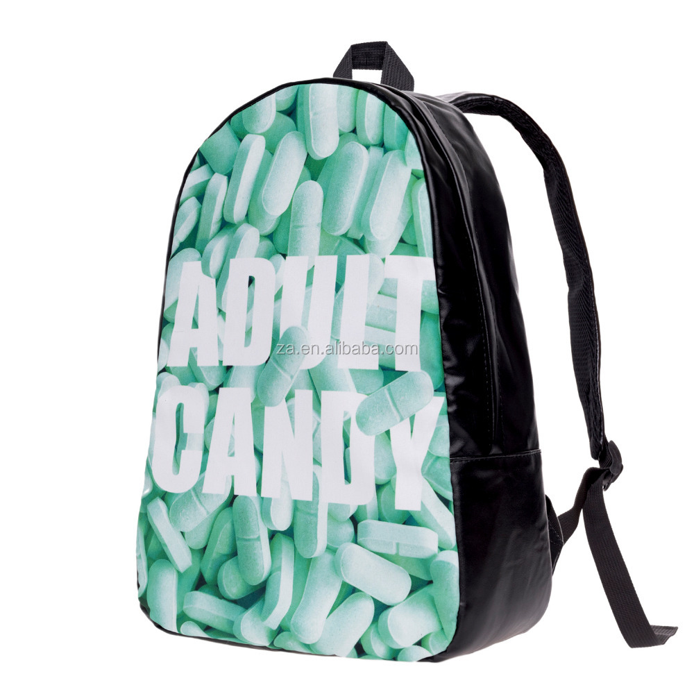 New Arrived 3D Print High Quality Custom Leather School Bag Backpack