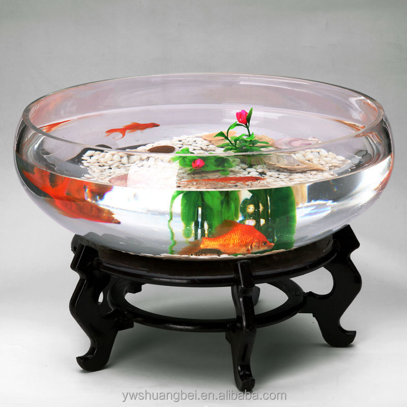 2015 New Design Round Clear Glass Open Mouth Fish Bowl Aquarium Fish Tank
