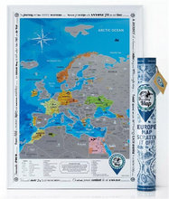 Detailed Europe Map with Scratch off Stickers Large Size Tube Packaging AMA-15