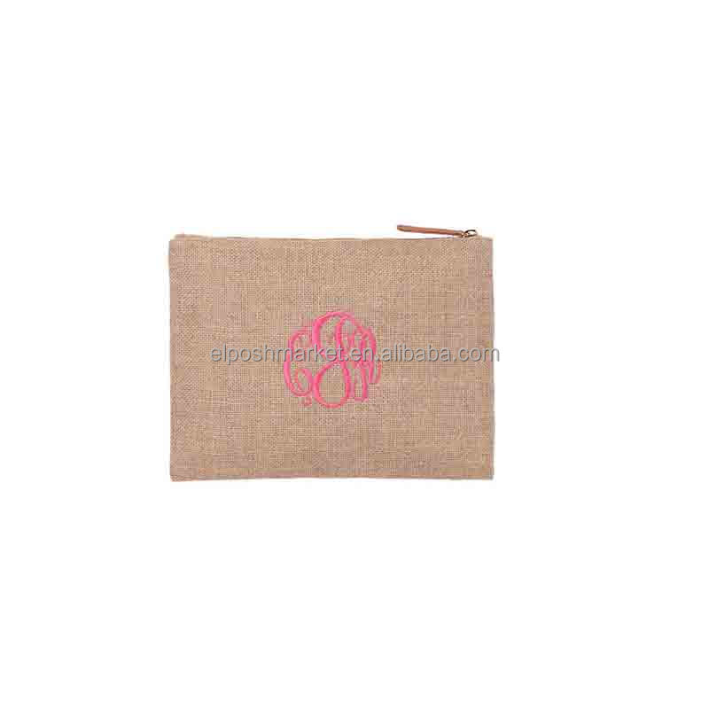 Monogrammed Blank Burlap Make Up Bags