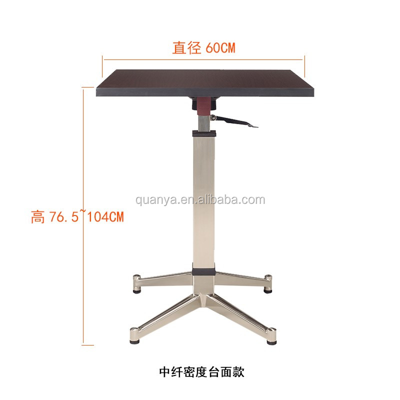 upscale small square adjustable folding table with metal base for bar