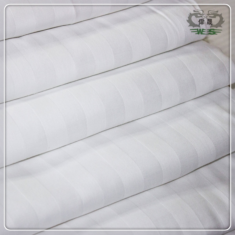 Hotel Supplier 20% Polyester 80% Cotton Satin White Stripe Fabric