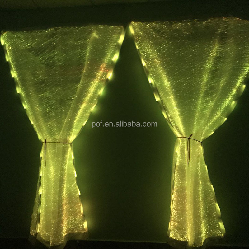 event curtain walls accessories led color changing light up luminous star fiber optic fabric flexible window curtain