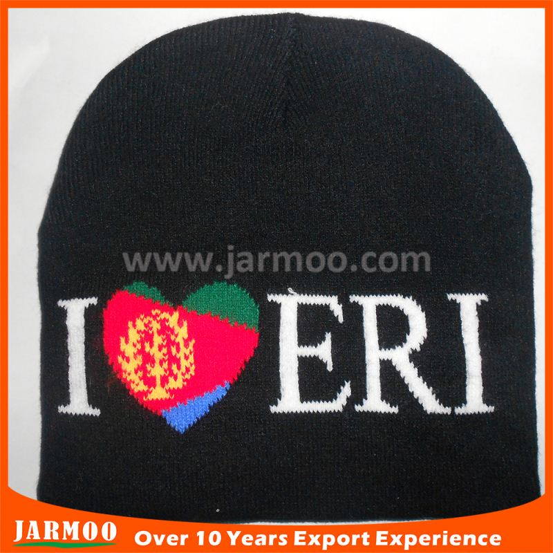 popular gifts black beanie hat with leather label