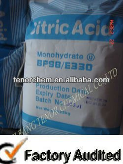 Citric acid monohydrate , White crystalline powder , for food grade