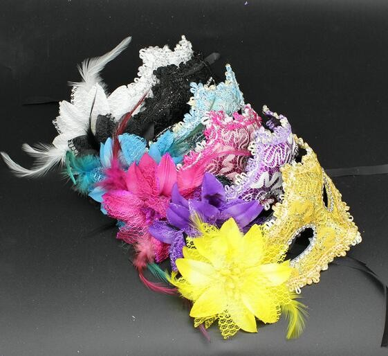New Flower Feather Venetian Masquerade Ball Halloween Carnival Party Eye Mask