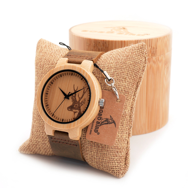 BOBO BIRD Engraving Elk Deer Head Bamboo Watch Leather Strap Japan Movement Quartz Ladies Watches in Gift Box Package