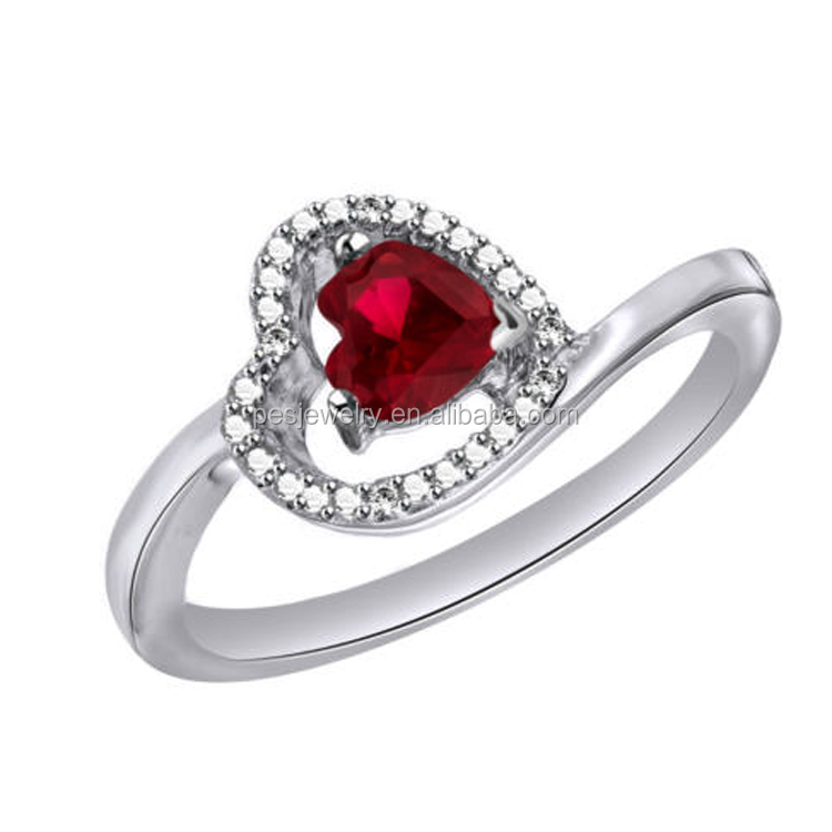 Heart Shaped Sapphire,Citrine,ruby,Peridot & Zircon Accent Ring In Sterling Silver