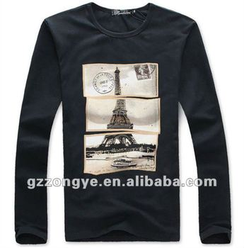 Men T shirts long sleeve flexography print round neck plain tees