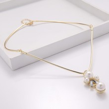 Big crystal pearl pendant high-grade alloy chain of wholesale sweater collar bone