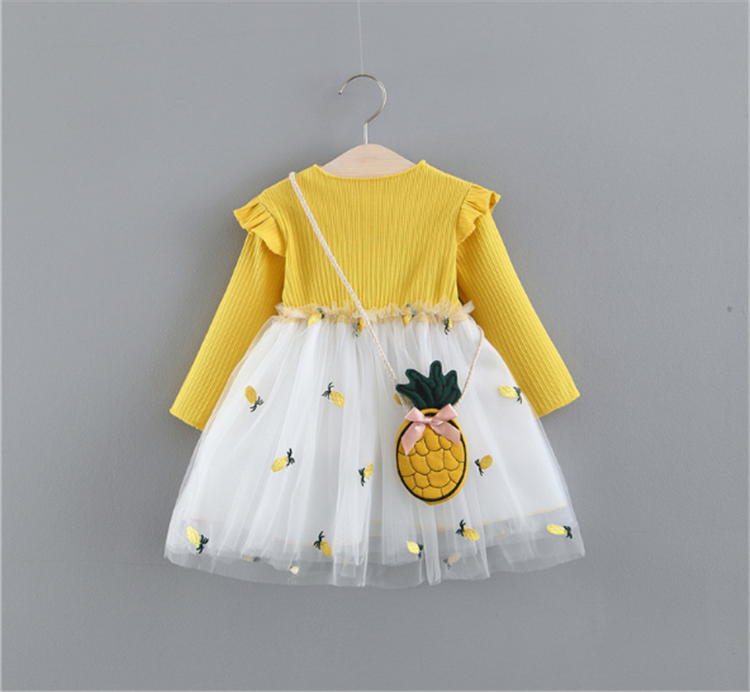 2019 Latest Spring/Autumn Children's Clothing Girl's Dress With pineapple Bag Floral Pattern Baby Girls Dresses mesh skirt