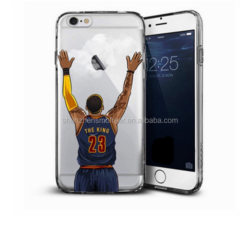 Basketball Player transparent TPU clear nba print soft tpu phone case for iphone 7 7plus
