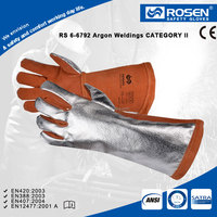 RS SAFETY Leather welding gloves in ARC and Radiation protection glove with gauntlet protective arm sleeves