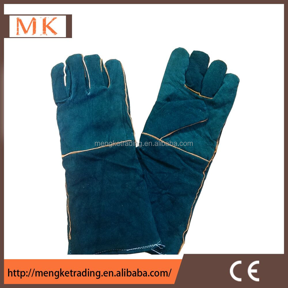 Professional Long Sleeve Safety Work Gloves Green Cow split leather Welding Gloves