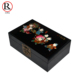 Hand Drawing Floral Wooden Antique Lacquer Painting Decorative jewel case box