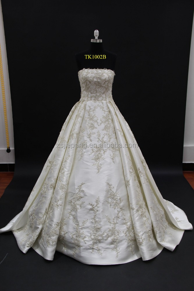 Lebanon designer design! 2016 new luxy mikado satin with heavy crystal beading vintage lace ball gown wedding gown