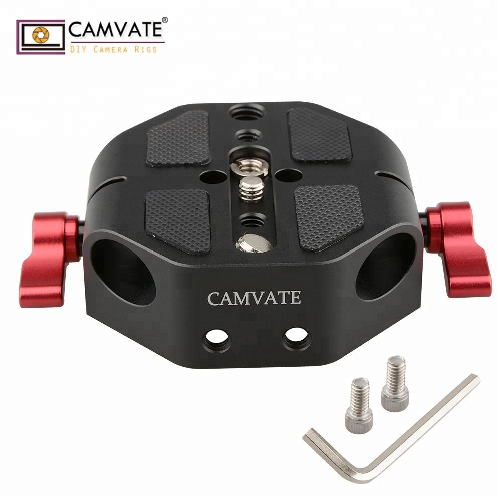 "CAMVATE Baseplate 1/4-20"" 3/8-16"" Screw Red Wingnut For <strong>C100</strong>/300/500 FS7 A7"