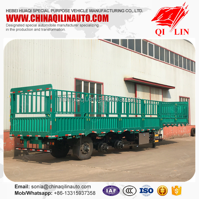High quality 3 axles double tires wood floor fence semi trailer