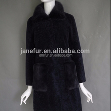 Navy color fashion trend lamb skin sheep shearling fur coat of womens with cheap price