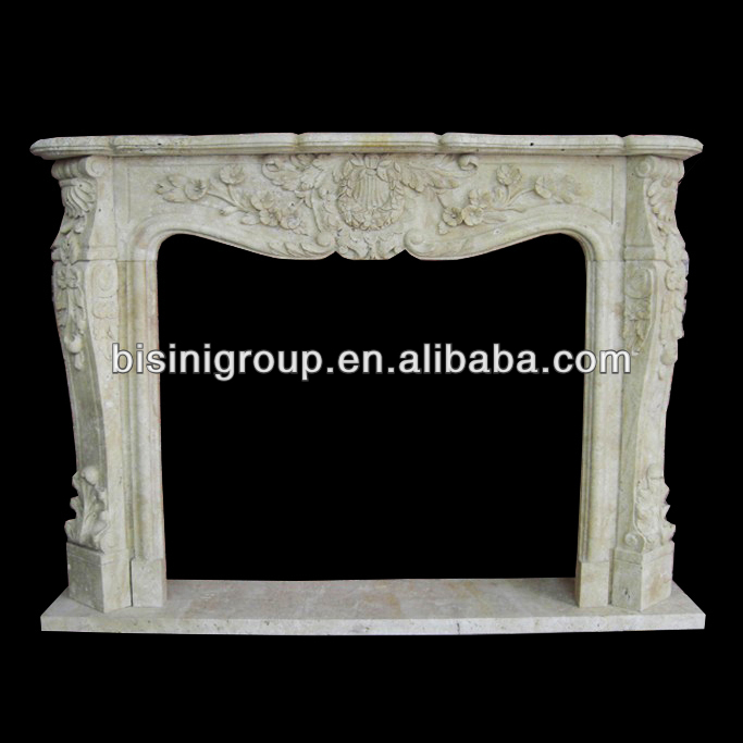 Antique Rococo Louis XV Travertine Chimneypiece Made of Cream Travertine BF11-0125a