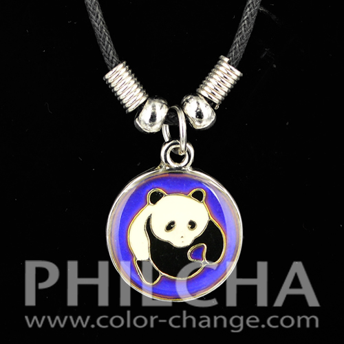Fashion Color Change Mood Necklace with Lovely Panda Pendant