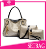 GAJIA new model bags golden lady tote bag set in PU leather material lady set bags