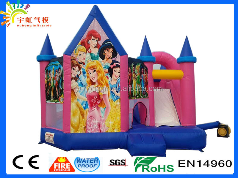 Popular inflatable combo slide pvc princess jumping castle