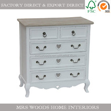 MW Home french shabby chic white painted pine wood 5 drawer chest wholesale wooden chest of drawers
