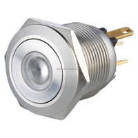 19mm Waterproof Momentary 1NO Dot Illuminated Stainless Steel Push Button Switch with Solder Terminal