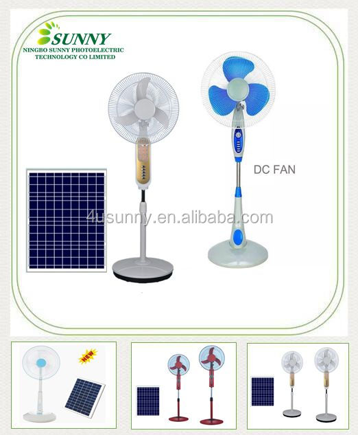 China Manufacturing Oscillating 12V DC Stand Fan, 16-Inch Solar Powered Pedestal Fan Black