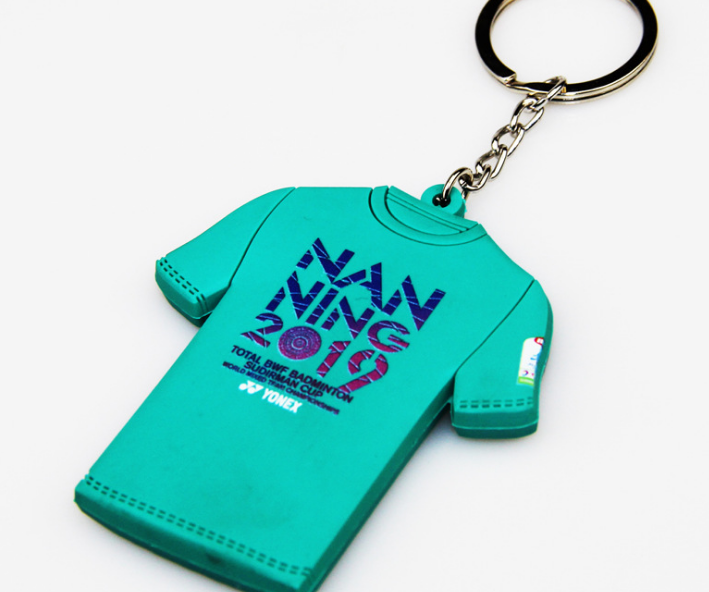Custom pvc Soft Mini T-Shirt  custom keychain Plastic Keyring Light Keychains