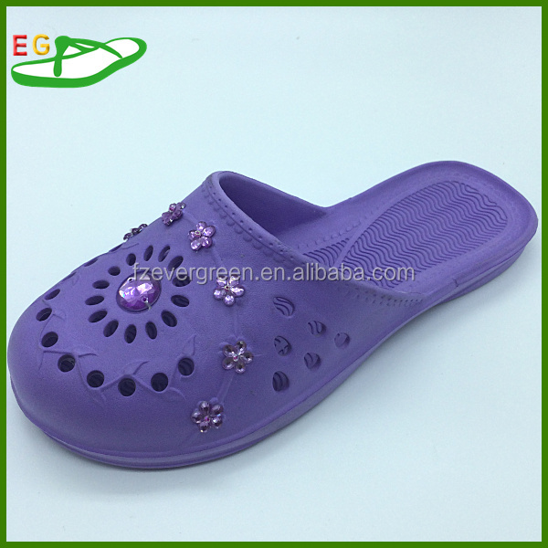 2015 Factory offer Hot selling and good quality EVA bath slippers EGA0302-06 Purple with beads sewing