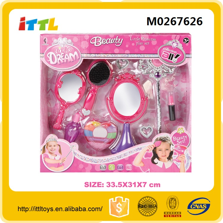 Top supplier plastic makeup pretend barber shop kids play beauty set
