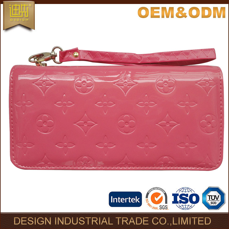 Cheap travel zipper long clutch leather lady wallet for women