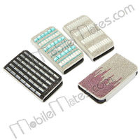 Bling Crystal Diamond Hard PC Shell+Leather Flip Stand Case for iPhone 4/4S with Card Slots and Strap