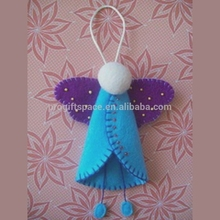 2017 new hot sales handmade fabric craft wholesale custom tree hanging crochet decor gift unique felt angel Christmas ornaments