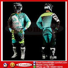 KCM1701 Fox Jersey+pants Race Motocross Suit motorcycle jersey moto clothing set Racing Cross country Tshirt pants Free shipping