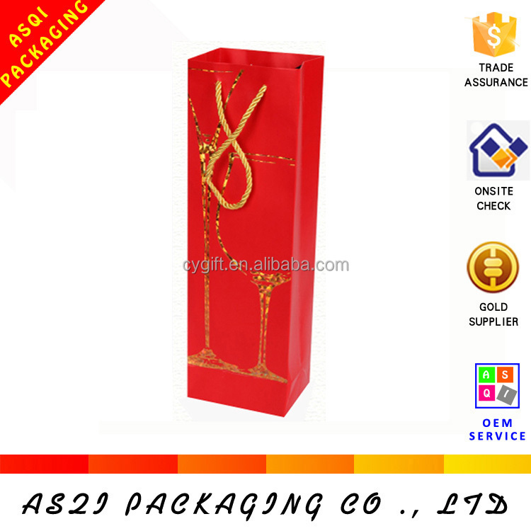 Yi wu factory customized hot sale lucky red hot stamping fancy pape gift wine bag with your own logo