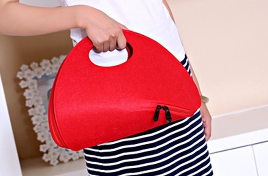 2017 Newest Colorful Felt Tote Handbag Beach Bag with Leather Handle Shopping Women Bag Tote Hand bag