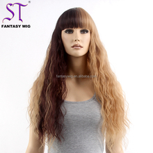 High Quality Factory Price Kinky Straight Wig Cosplay Synthetic Hair Color Two Tone Wigs