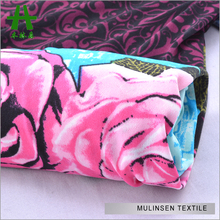 Mulinsen Textile Rose Flower Design Wholesale Placement Printed FDY Fabric By The Pound