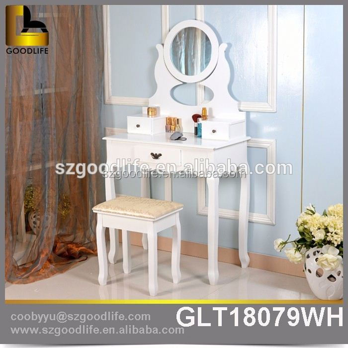 Modern European Pastoral Style White Dressing Table Round Mirror Bedroom